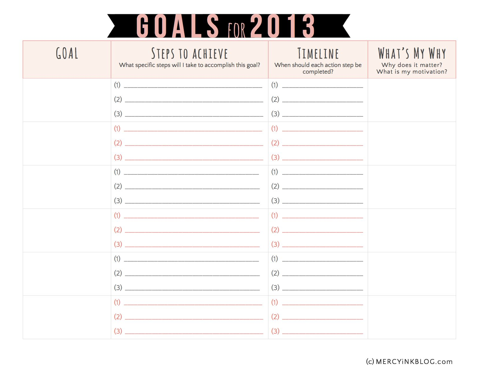 Worksheets Printable Goal Setting Worksheet vision goal setting in 2013 a free printable printables and planning worksheet