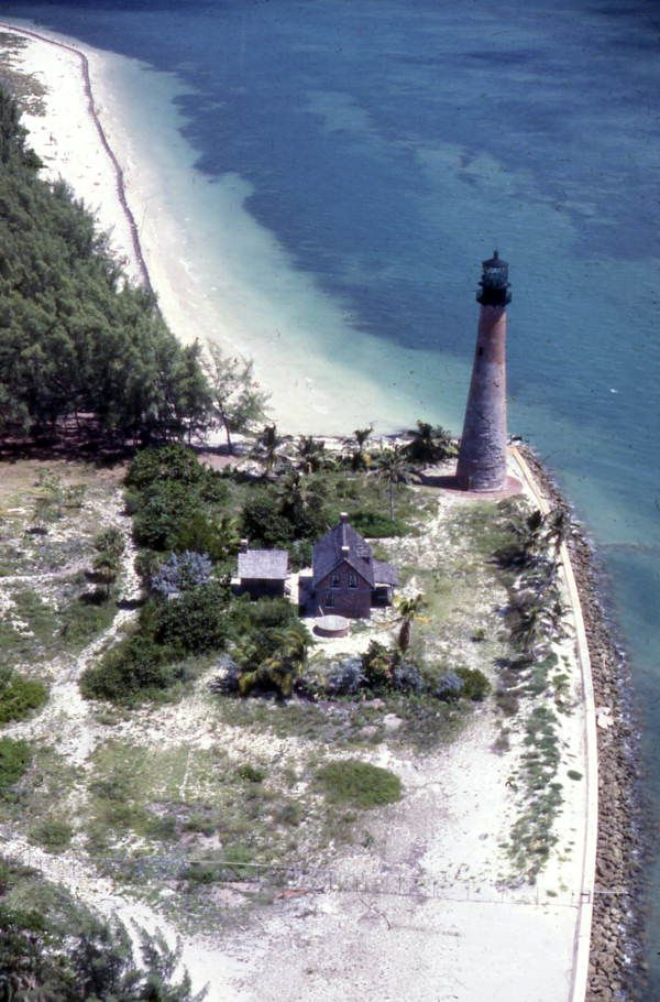 An aerial view of the historic Cape Florida Lighthouse at the Bill Baggs Cape Florida State Park in Key Biscayne. | Florida Memory