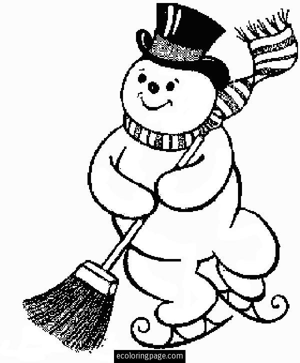 Frosty the snowman coloring pages ice skating frosty the snowman merry christmas coloring page kids