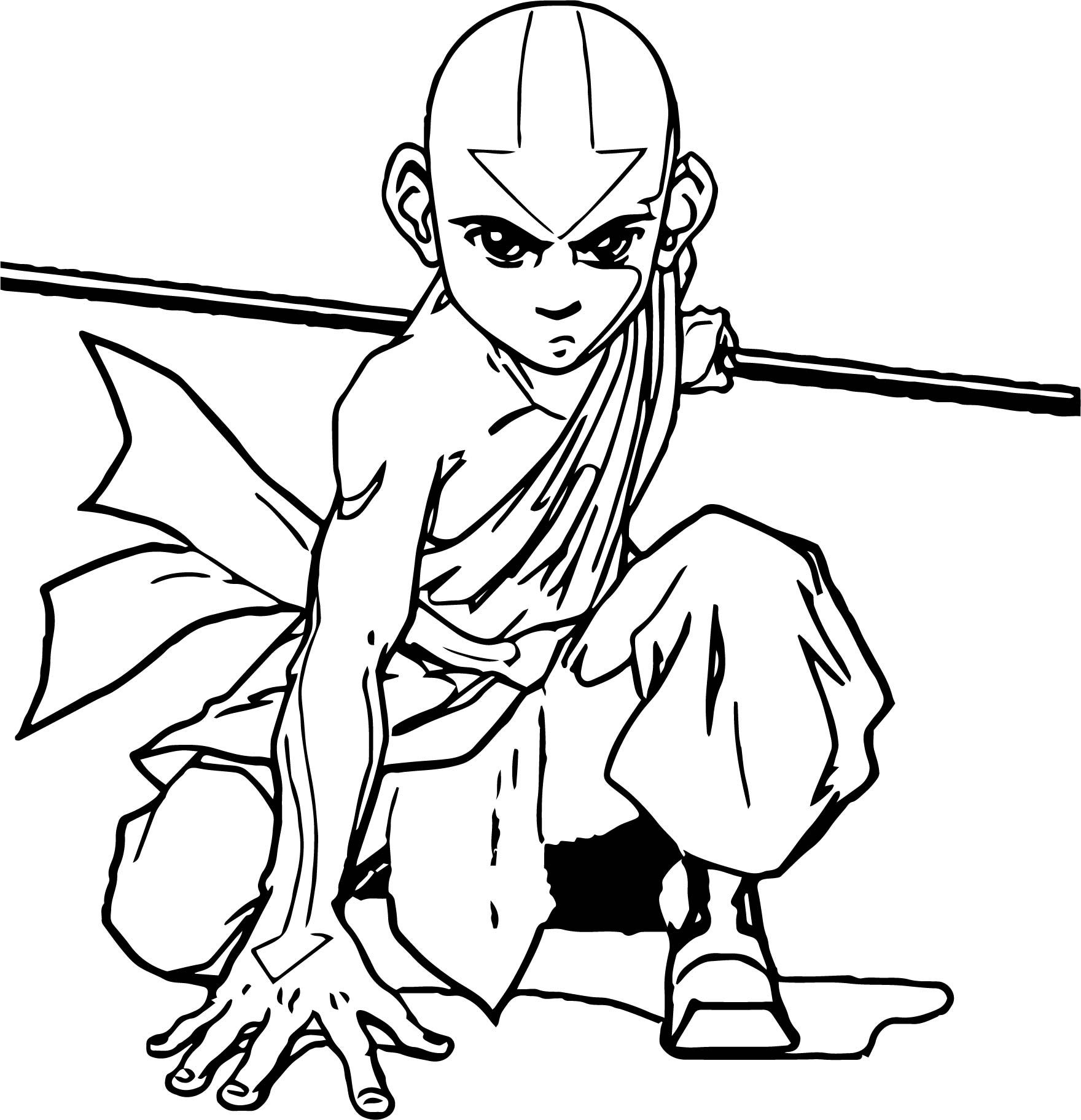 Awesome Aang Official Avatar Aang Coloring Page Avatar Aang