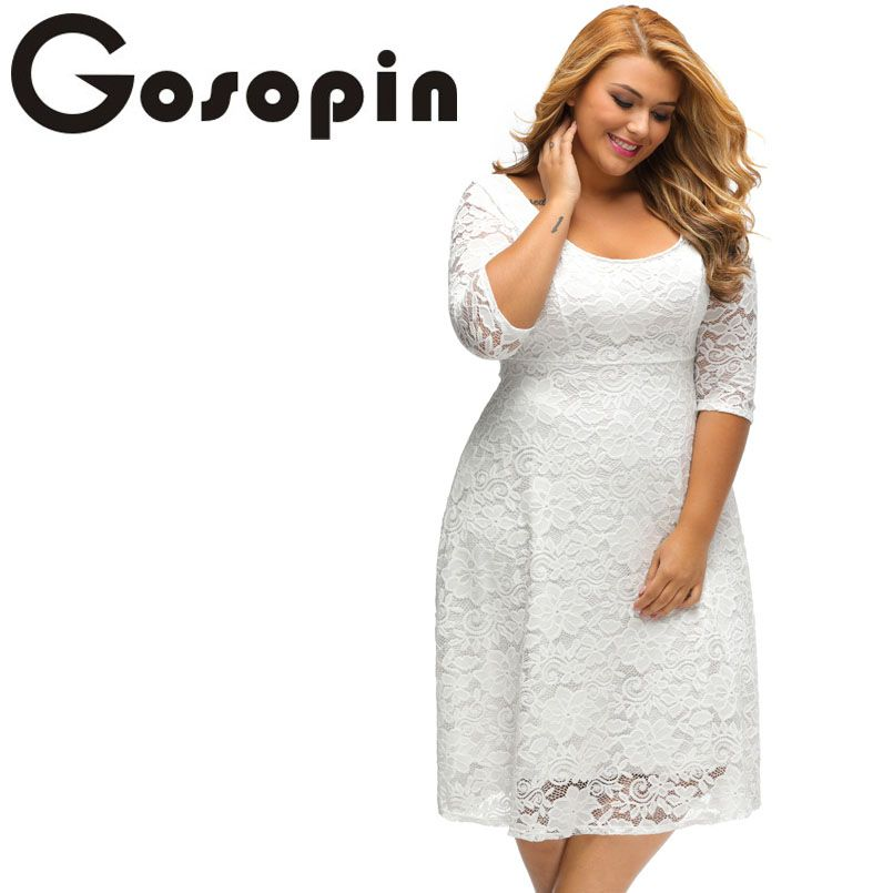 Gosopin New Elegant Large Size Lace Dresses 2017 White Floral Lace Sleeved  Fit and Flare Curvy 1159db679ec7