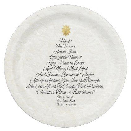 Hark the Herald Angels Sing Christmas Tree Paper Plate - calligraphy gifts custom personalize diy create your own  sc 1 st  Pinterest & Hark the Herald Angels Sing Christmas Tree Paper Plate - image ...