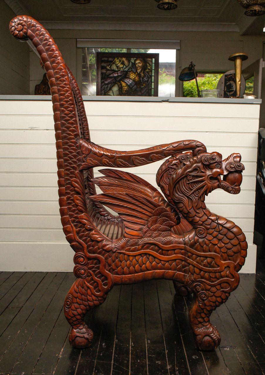 Antique Dragon Chair Gothic Furniture Wood Furniture