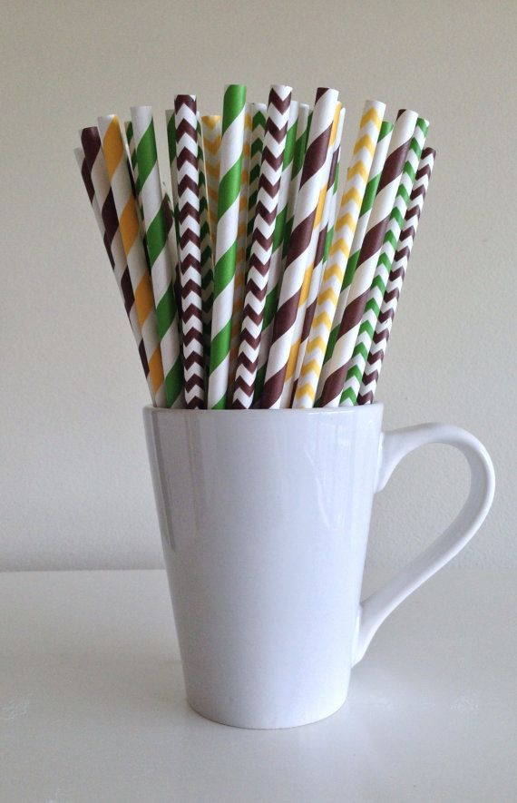 Paper Straws - 25 Green, Yellow and Brown Striped and Chevron Party Straws John Deere Tractor Farm Theme Birthday Wedding Bridal Baby Shower by PuppyCatCrafts, $3.60