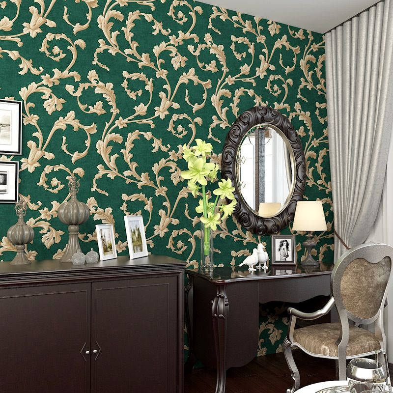 Beibehang American Rural Non Woven Wallpaper Bedroom Living Room Tv Emerald Green Background Retro Cottage Leaves