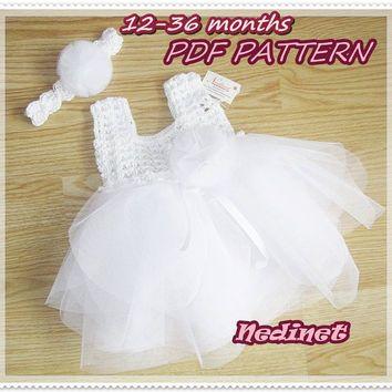 Crochet Baby Dress Pattern Crochet Tulle Tutu Dress 0 36 Months Set