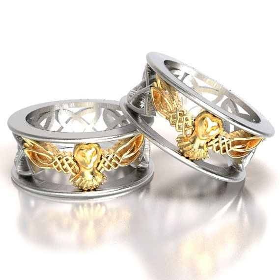 Celtic Wedding Ring Set His And Her Gold Owl Rings Silver 10k 14k 18k Gold 2 Tone Celtic Owl Unique Wedding Ring Set Barn Owl Cr 1016 In 2020 Celtic Wedding Ring Sets