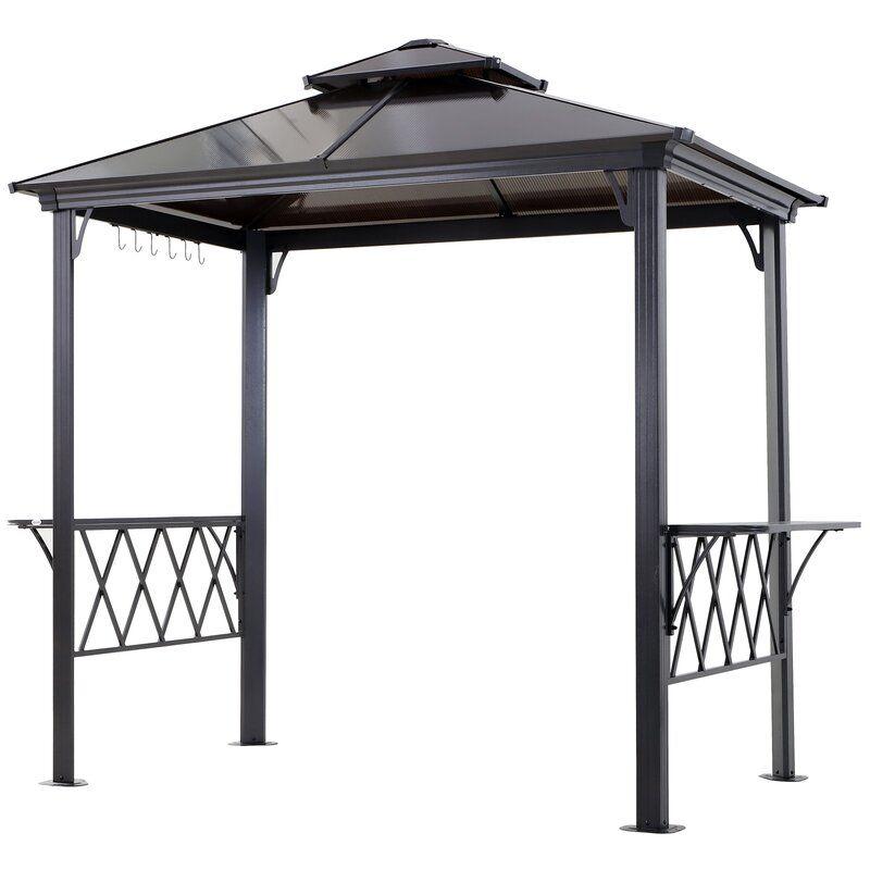 Outdoor Patio Double Tier Bbq 9 Ft W X 5 Ft D Aluminum Grill Gazebo In 2020 Bbq Canopy Grill Gazebo Gazebo