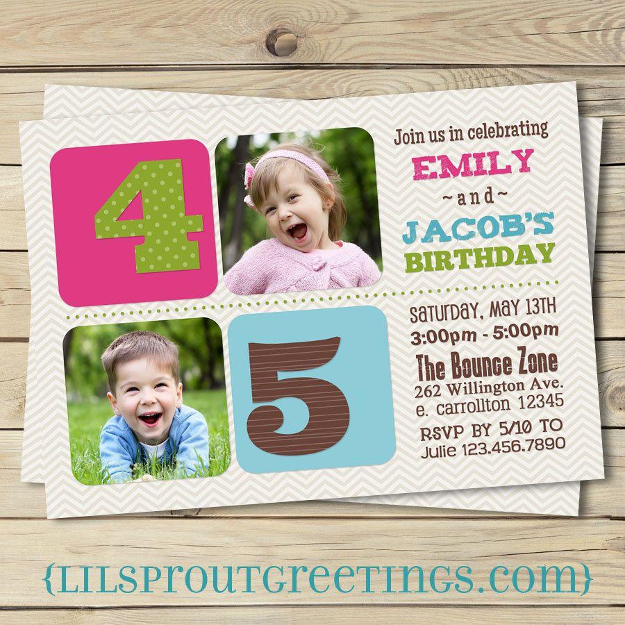 Joint Photo Birthday Invitation- Boy, Girl, or Boy-Girl Format ...