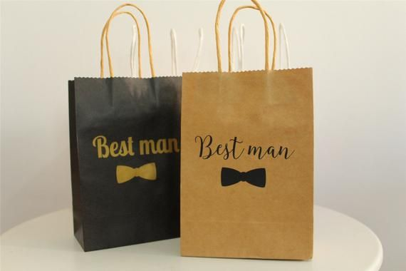 Best Man Gift Bag Groomsman Wedding Black White