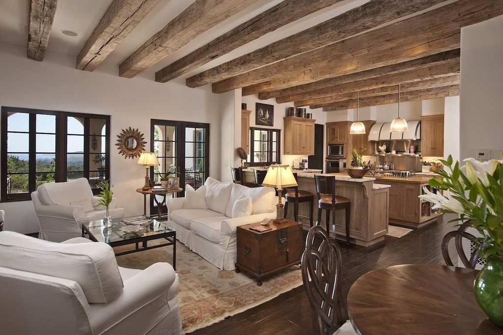 Built-in bookshelves/cabinets, Cottage, Exposed Beams ...