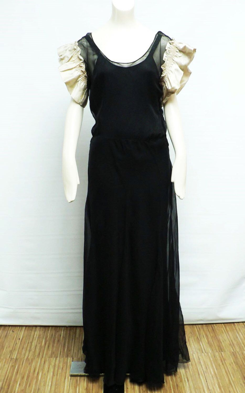 1930s black silk chiffon gown satin sleeves / 30s dinner dress/ art ...