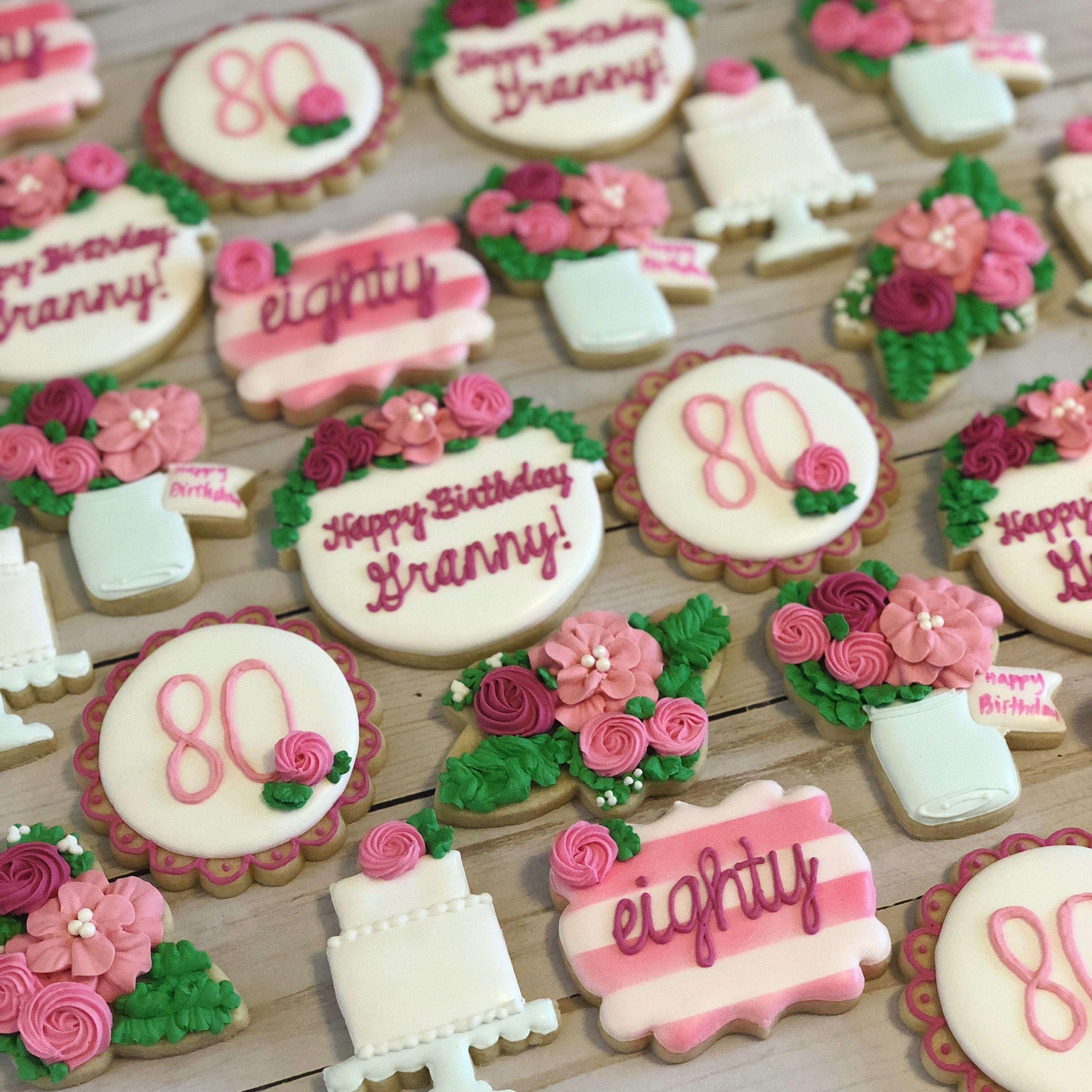 80th birthday cookies floral cookies eightieth birthday