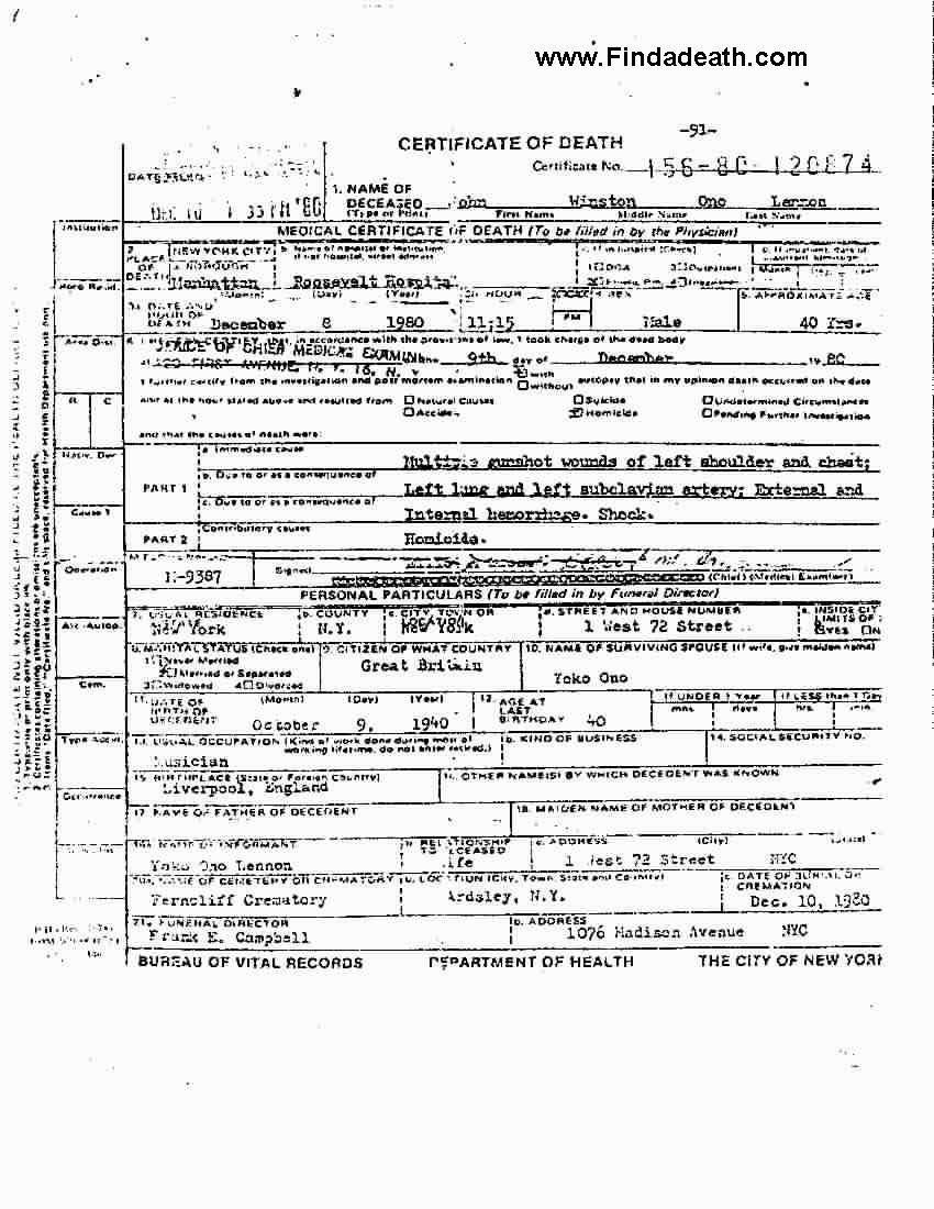 John Lennon Death Certificate John Lennon Old Photos And History