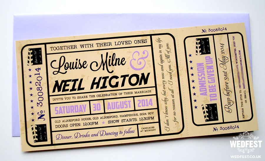 movie ticket wedding invitations Movie wedding invitations - create your own movie ticket