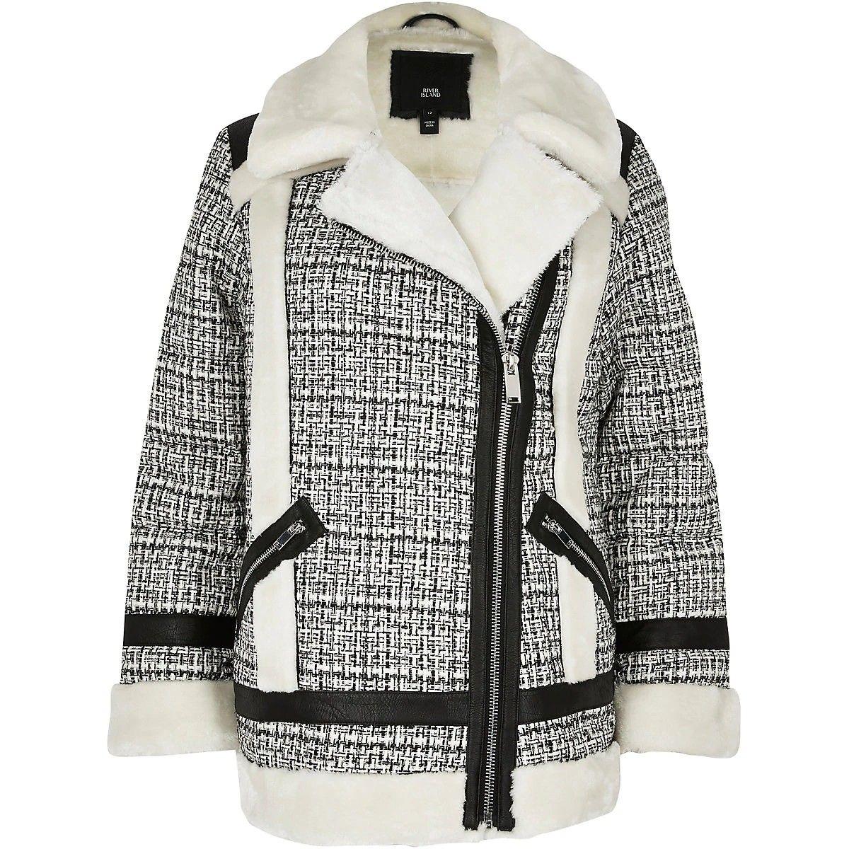 Cream boucle faux fur aviator jacket (con imágenes)