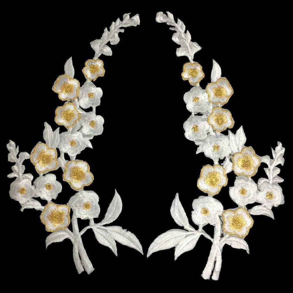 1 Pair Off White Lace Flower Applique Headdress Hair Accessories