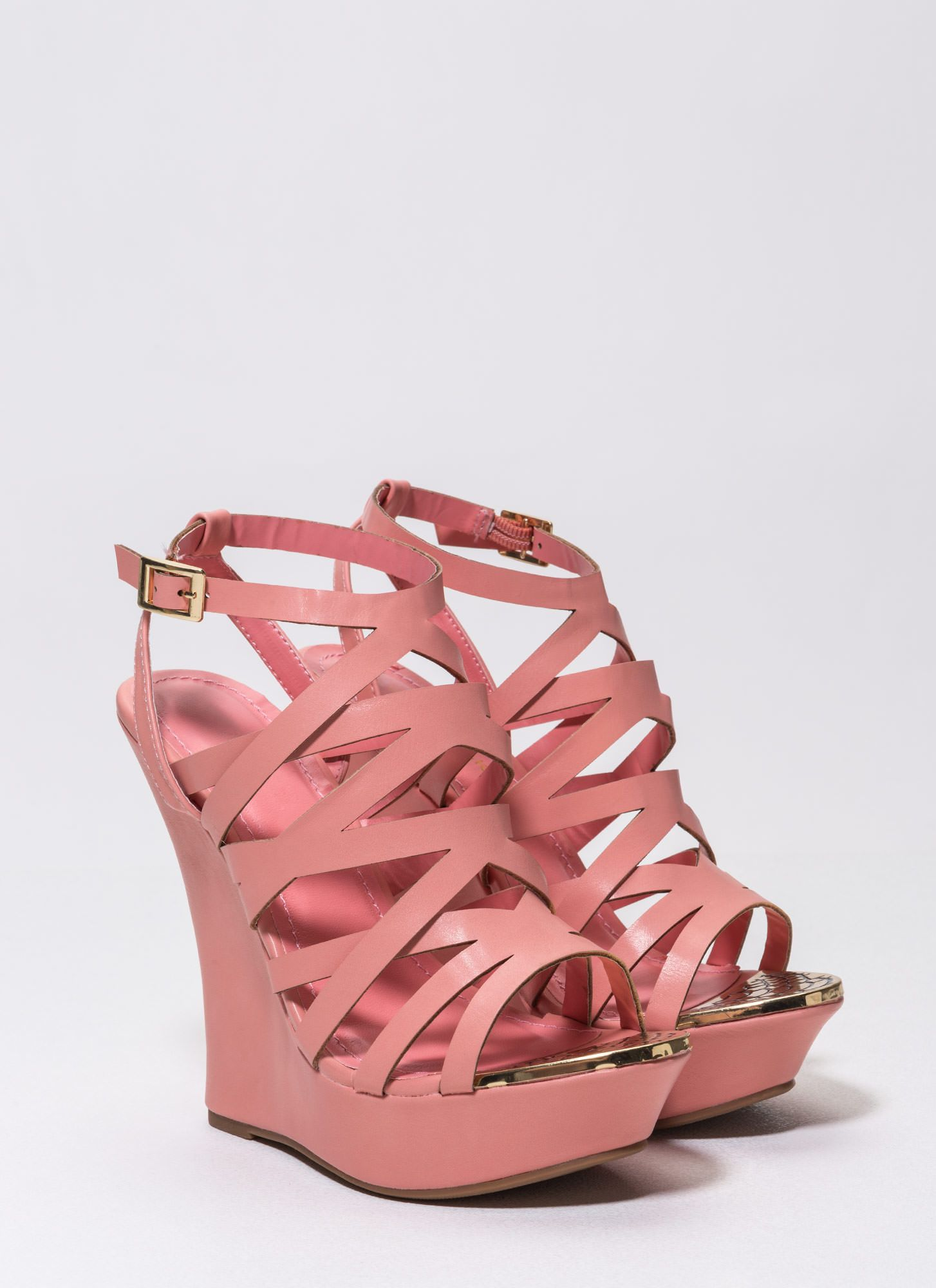 Metallic Head Faux Leather Wedges CORAL