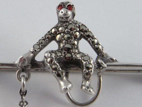 Art Deco Silver and Marcasite Monkey Brooch. Silver Monkey Brooch