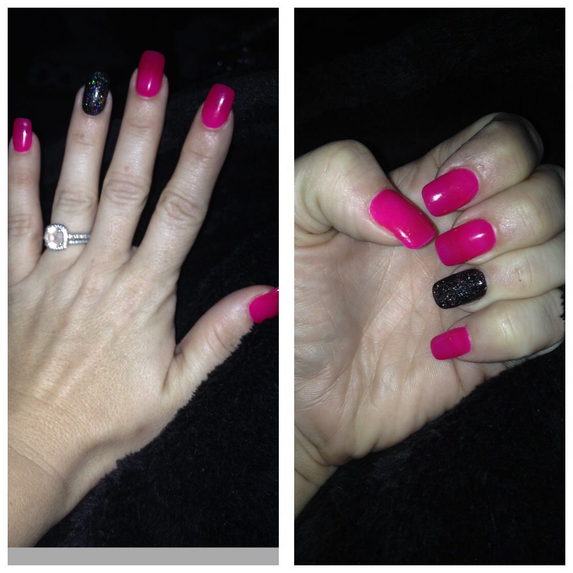 Hot pink nails with black glitter accent | Nails | Pinterest
