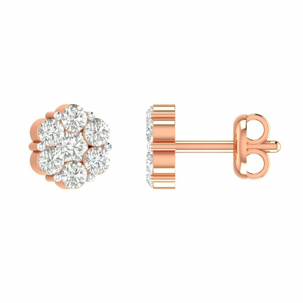 1 50 Ct Pressure Set Round D Vvs1 Diamond Flower Stud Earrings 14k Rose Gold Gp Stud Earrings Rose Gold Diamond Stud Earrings