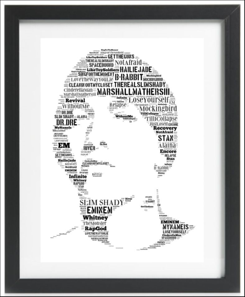 Details About Eminem Slim Shady Hip Hop Rap Word Art Collectable