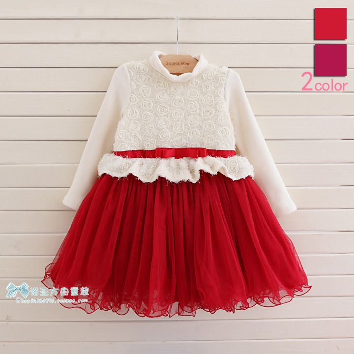 Popular Baby Girl Fashion Dress Children Christmas Dress With Rose