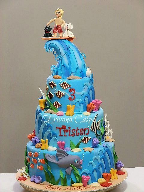 Astounding Surfing Waves And Sea Cake Surf Cake Cake Ocean Cakes Personalised Birthday Cards Sponlily Jamesorg