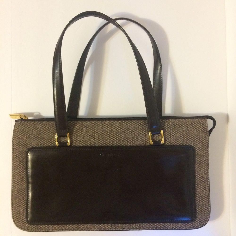 Vintage Cole Haan Handbag Brown Leather Tweed 1950 S Swagger Style Zipper Top Colehaan