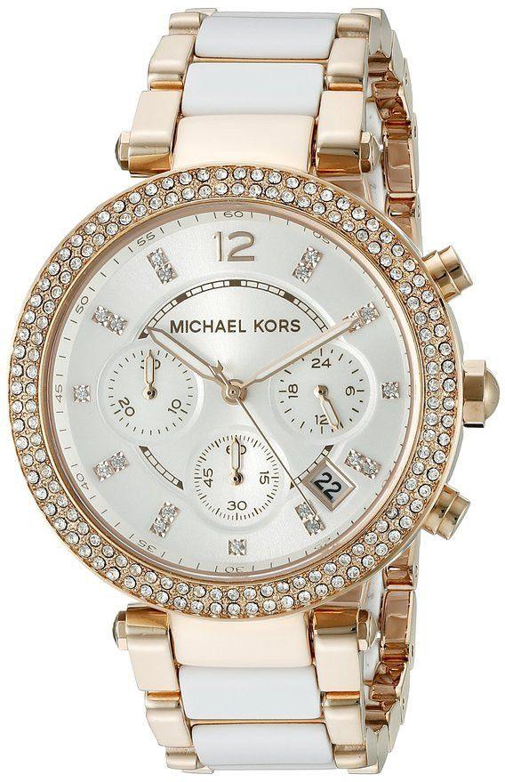 01b08d488ea2 Michael Kors Women s Parker Gold-Tone and White Watch