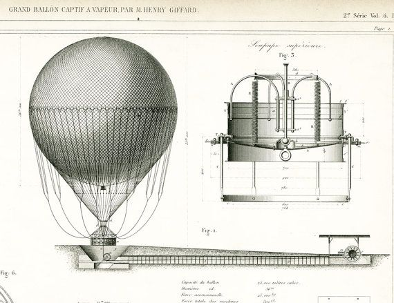 AUTHENTIC 1800s BLUEPRINT  Industrial design - Industrial Patent Print - Hot Air Ballon Wall Art - Technical drawing -   Original print. NOT A COPY.  BUY SEVERAL / PAY NO M... #armengaud
