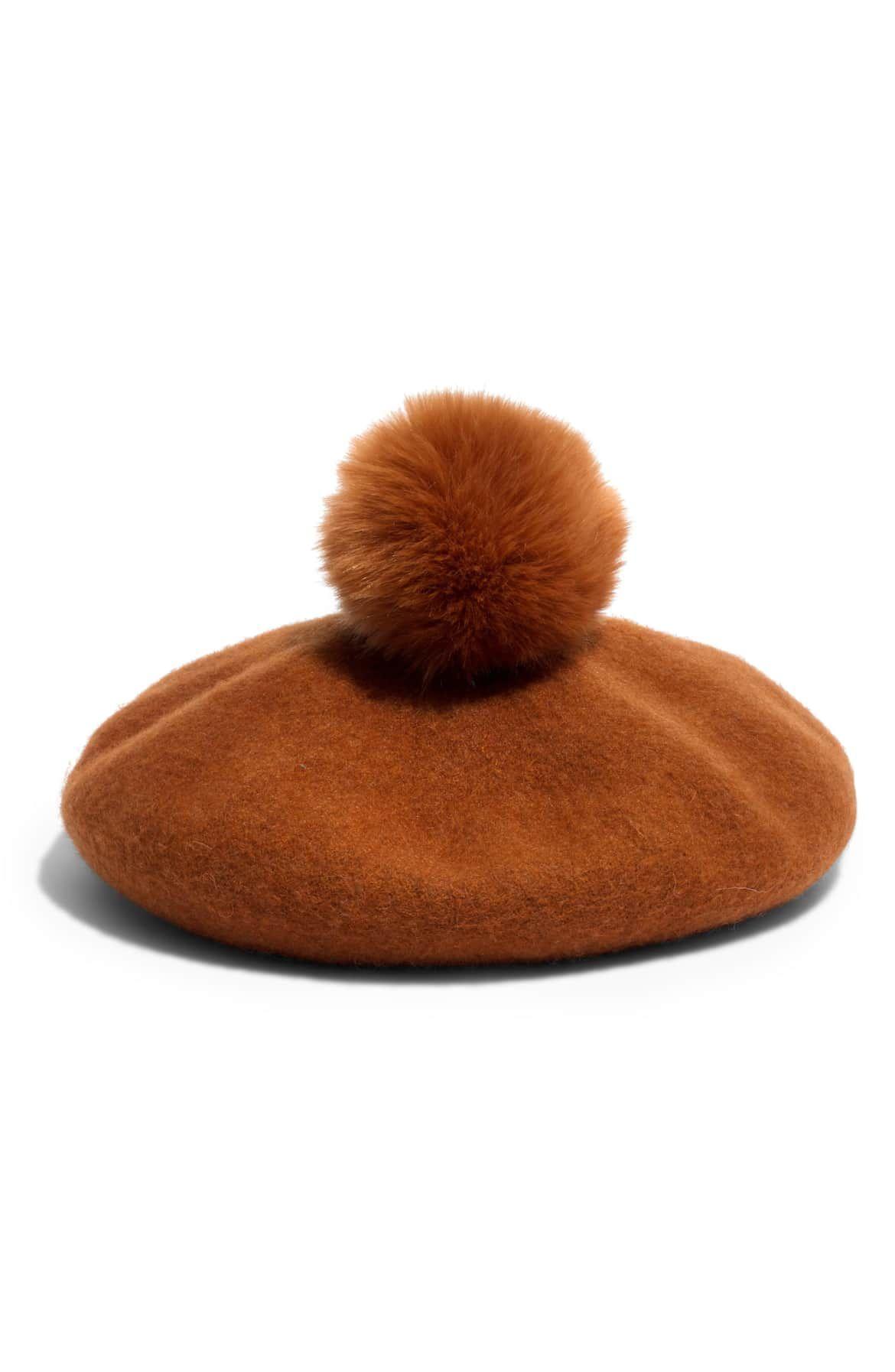 917c8cba1d3c2 Faux Fur Pompom Beret