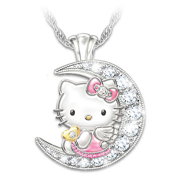 I love you to the moon and back hello kitty crystal necklace pinterest i love you to the moon and back hello kitty pendant necklace mozeypictures Images