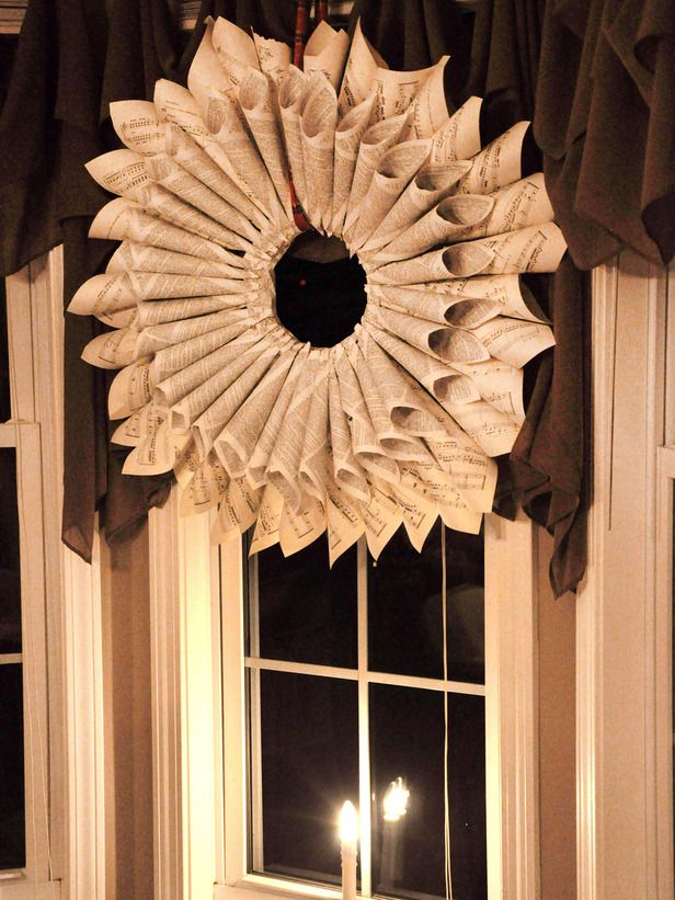 Holiday Wreath Made from Sheet Music and Dictionary Pages