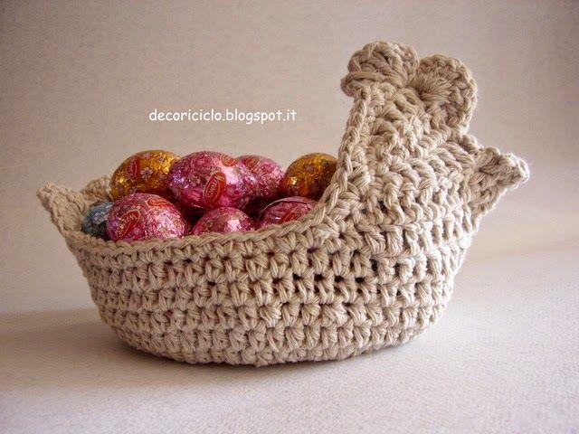 Decoriciclo cestino a forma di gallinella porta ovetti o for Porta uova
