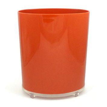 trash talk - mod 1970s lucite waste basket, orange with clear