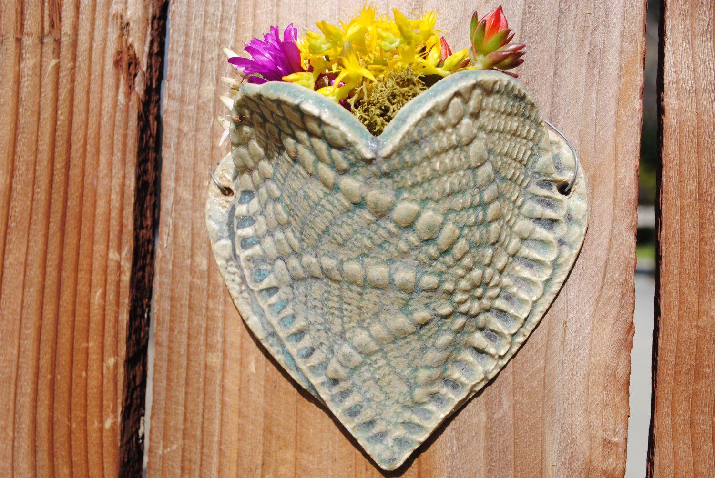 Ceramic wall pocket flower herb plant holder tiny wall