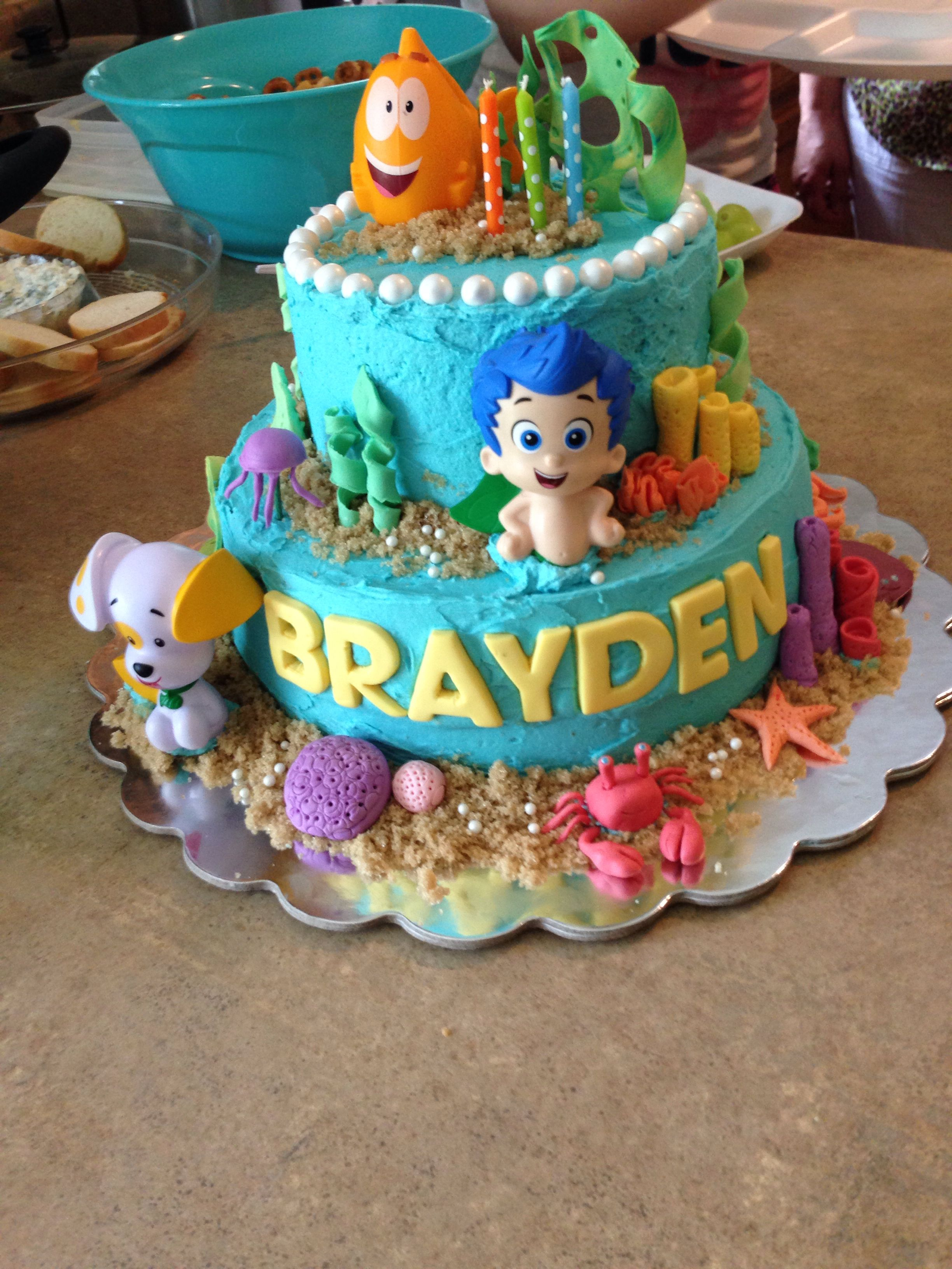My Sons Bubble Guppie Cake With Images Bubble Guppies Birthday