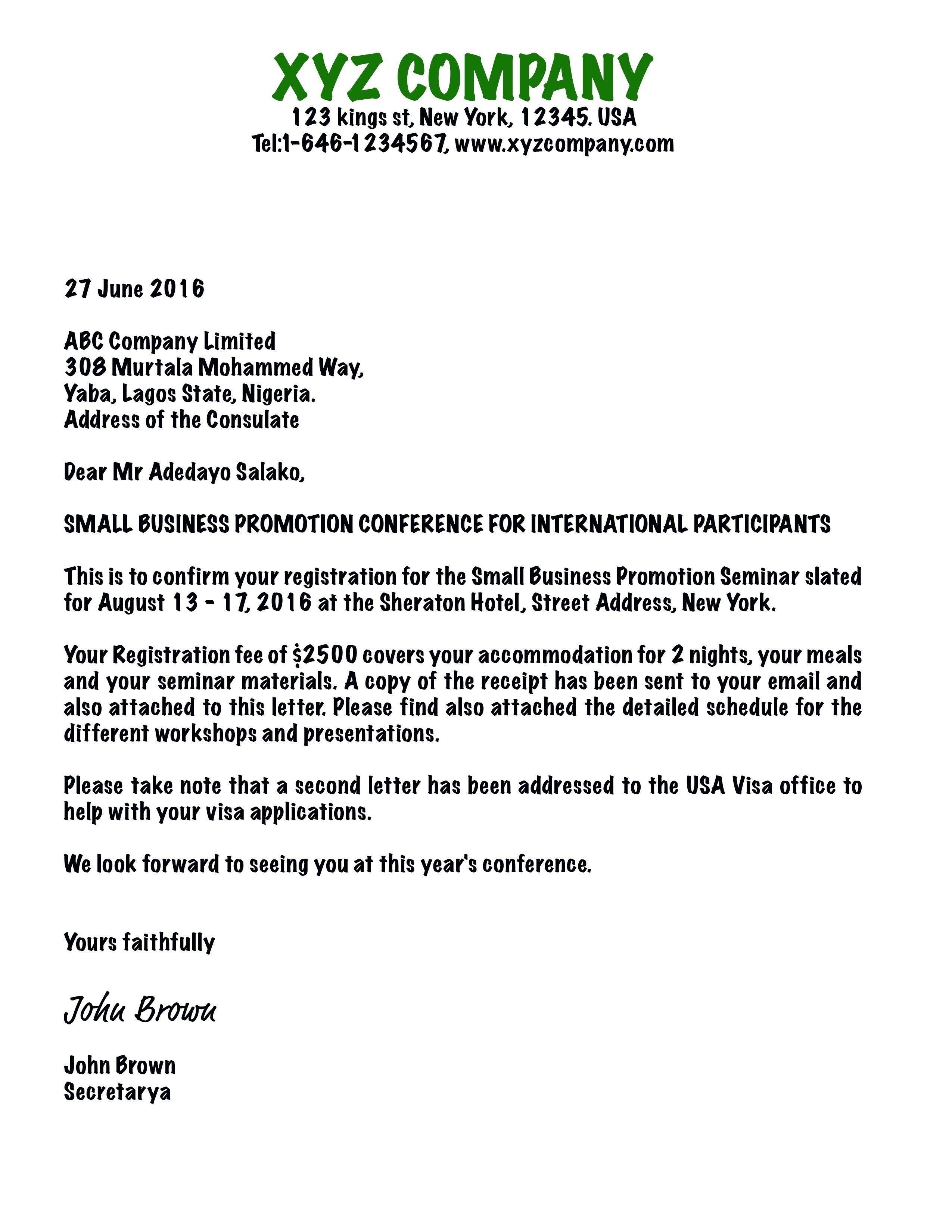 Format Of Company Invitation Letter For Visa Application Sample