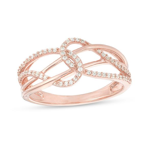 1 6 Ct T W Diamond Layered Crossover Looped Ring In 10k Rose Gold Rose Gold Fashion Rings Gold