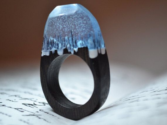 """Gift For Her Personalized Resin Ring """"World Of Warcraft"""" Wood Ring Resin Wooden Jewelry Gift For Him Wood  Resin Wood Ring"""