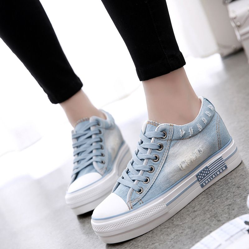 47106aa7af7f Korean Fashion Denim Blue Canvas Shoes 3cm Height Increased Women Canvas  Shoes for Girls Casual Cloth Denim Shoes Flat Size35-40