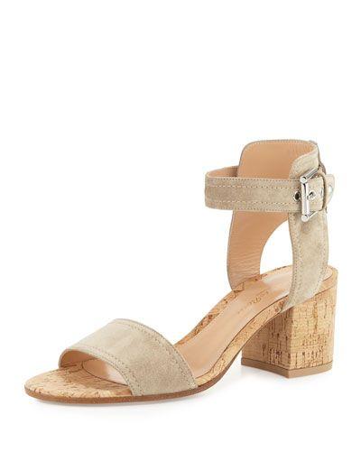 GIANVITO ROSSI Suede Cork-Heel City Sandal, Cashmere. #gianvitorossi #shoes #sandals