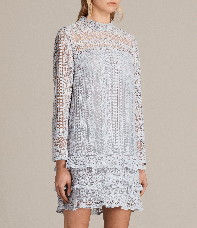 ALLSAINTS EU: Womens Vila Lace Dress (OFFSHORE GREY)