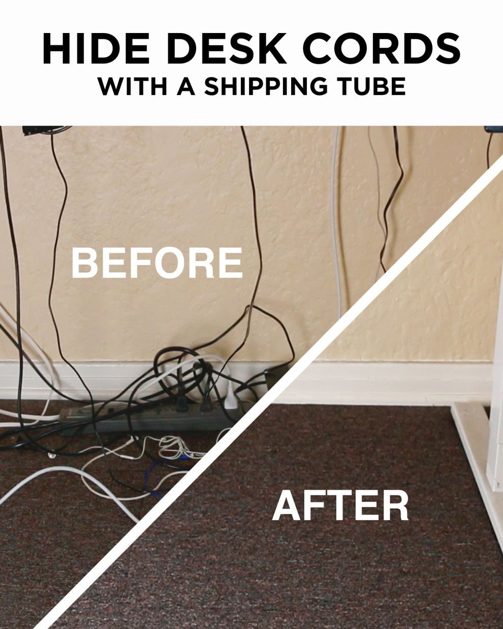 Fernsehkabel Verstecken Fix Tangled Cord Messes With This Clever Desk Hack Ideen