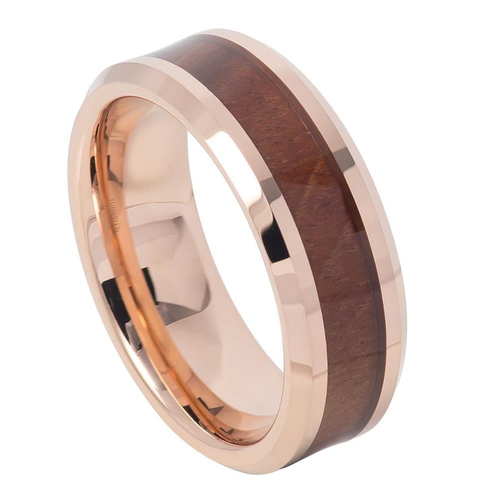 Tr tungsten ring rose gold ip plated with hawaiian koa wood inlay