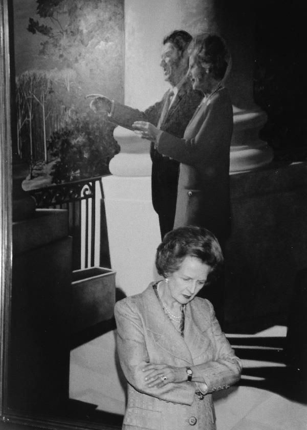 American Enterprise Institute, September 1997. Lady Margaret Thatcher stands beneath a painting of her and Ronald Reagan that was commissioned by AEI Trustee Harlan Crow. The original still hangs in Crow's office.