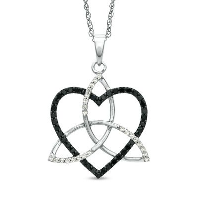 Zales 1/3 CT. T.w. Enhanced Black and White Diamond Double Heart Outline Pendant in Sterling Silver XgxRHuO