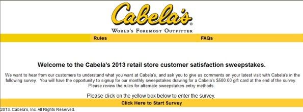Cabelau0027s Retail Store Customer Satisfaction Survey, wwwcabelas - satisfaction survey