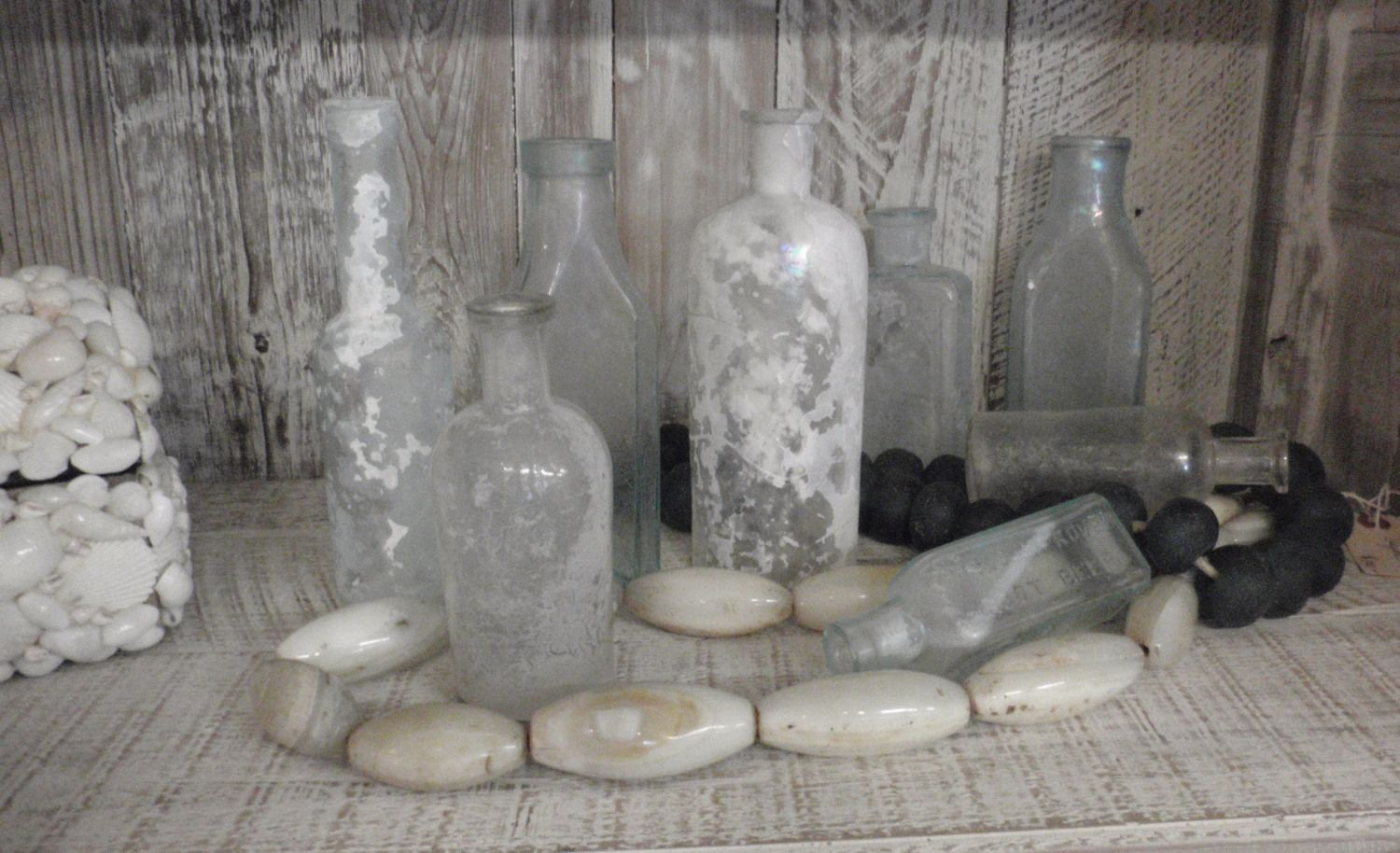 beach washed up bottles - love these!